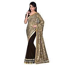 Avanya Beige & Brown Colour Georgette & Brasso Embroidered Saree With Unstitched Blouse Piece