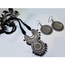 Boho Style Silver Necklace Oxidized Afghani Tribal Necklace Design Ethnic Tibetan With Matching Mirror Earrings