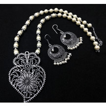 Tribal Peacock Design Oxidized Silver Pearl Pendant Necklace In Antique Finish For Girls And Women
