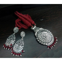 Tribal Peacock Design Oxidized Silver Red Thread\\dori\\cotton Pearl Pendant Necklace Choker In Antique Finish For Girls And Women