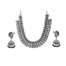 Antique Finish Oxidized German Silver Plated Light Weight Party Wear Necklace With Matching Jhumka Jhumki Silver Tone Black Pearl Earrings In Rajasthani / Jaipur Vintage Style