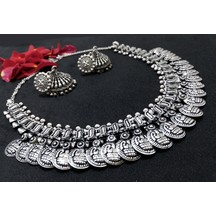 Antique Finish Vintage Rajasthani Style Oxidized German Silver Goddess Laxmi Coin Temple Necklace