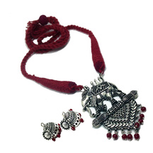 Antique Oxidized Silver Plated Tribal Cotton Dori Bahubali Design Jewelry Necklace Earring Set