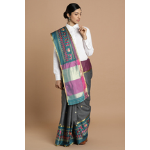 Craftsvilla Grey Kota Cotton Saree With Warli Embroidered Border And Unstitched Blouse Material