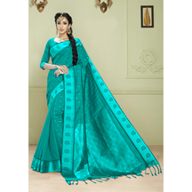 Craftsvilla Bottle Green Bangalore Silk Saree In Heavy Jacquar Work With Unstitched Blouse Material.