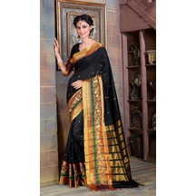Craftsvilla Black Poly Cotton Saree With Double Embroidered Border And Unstitched Blouse Material