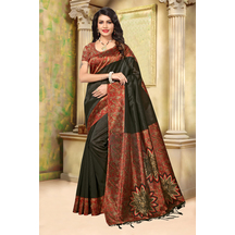 Black Color Mysore Silk Floral Solid Saree