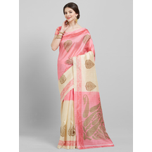 Pink Bhagalpuri Silk Plain Saree With Unstitched Blouse Material