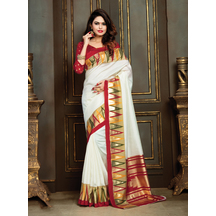 Cream Festive Wear Patola Silk Plain And Solid Saree With Unstitched Blouse