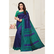 Navy Color Art Silk Printed Traditional Saree With Unstitched Blouse Material