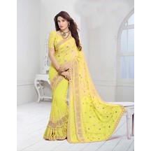 Yellow Color Chiffon Resham Embroidered Designer Saree