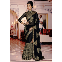 Black Color Georgette Embroidered Designer Saree With Unstitched Blouse Material