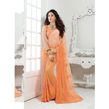 Orange Chiffon Saree.