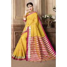 Craftsvilla Yellow Color Kota Cotton Saree With Traditional Warli Embroidered Border Work And Unstitched Blouse Material