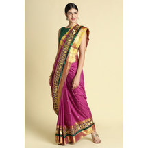 Craftsvilla Pink Color Poly Cotton Saree With Traditional  Double Zari Border Work And Unstitched Blouse Material
