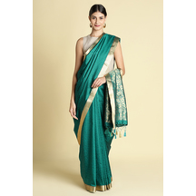 Craftsvilla Teal Blue Color Silk Blend Saree With Contrast Traditional Pallu And Unstitched Blouse Material