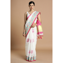 Craftsvilla White Color Kota Cotton Saree With Cross Stitch Embroidery And Unstitched Blouse Material