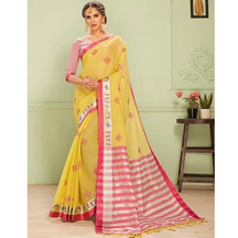 Craftsvilla Yellow Kota Cotton Saree With Cross Stitch Embroidery And Unstitched Blouse Material
