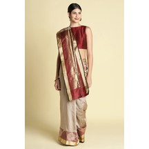 Craftsvilla Grey With Maroon Color Silk Blend Saree With Contrast Traditional Pallu And Unstitched Blouse Material