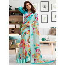 Turquoise Linen Printed Designer Saree With Unstitched Blouse Material