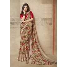 Brown Linen Printed Designer Saree With Unstitched Blouse Material