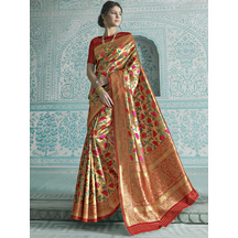 Gold Silk Woven Paithani Saree With Unstitched Blouse Material