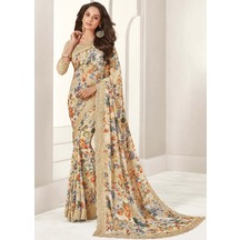 Craftsvilla Off White Georgette Lace Work Designer Saree With Unstitched Blouse Material