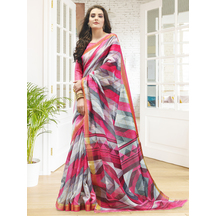 Multicolor Linen Designer Printed Saree With Unstitched Blouse Material