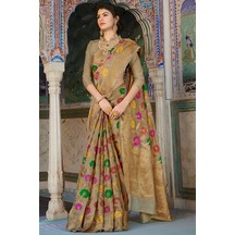 Brown Banarasi Silk  Designer Zari Border Saree With Unstitched Blouse Material