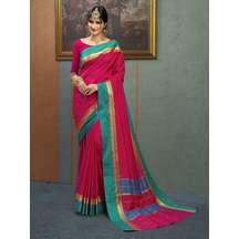 Craftsvilla Maroon Color Silk Saree With Traditional Temple Border Work And Unstitched Blouse Material