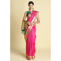 Craftsvilla Pink Color Silk Saree With Paisley Zari Border Work And Unstitched Blouse Material