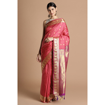 Craftsvilla Pink Color Silk Saree With Butta Work And Unstitched Blouse Material