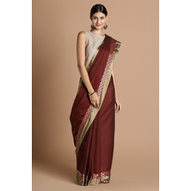 Craftsvilla Maroon Color Cotton Saree With Double Zari Border Work And Unstitched Blouse Material