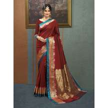 Craftsvilla Maroon Color Silk Saree With Traditional Zari Border Work And Unstitched Blouse Material