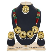 Craftsvilla Gold Plated Alloy Metal Hand Crafted American Diamond Ethnic Necklace Set