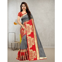 Grey Chanderi Cotton Designer Woven Saree With Unstitched Blouse Material