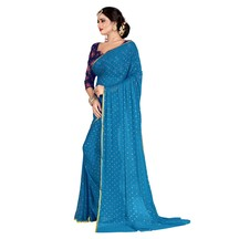 Craftsvilla Sky Blue Color Nazneen Solid Designer Saree