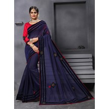 Craftsvilla Navy Chanderi Cotton Designer Patch Work Saree