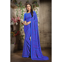 Blue Color Crepe Printed Bollywood Saree With Unstitched Blouse Material