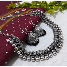 Silver Plated Brass Beads Hand Crafted Necklace Set