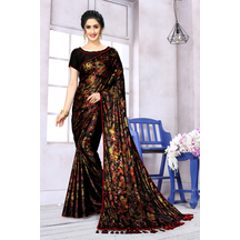 Black Lycra Floral Printed Designer Saree With Unstitched Blouse Piece
