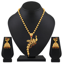 Traditional Peacock Inspired Gold Toned Necklace Set