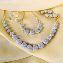 Gold Plated Brass Traditional Necklace Set With Bracelet & Ring