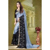Grey Silk Blend Printed Bandhani Saree With Unstitched Blouse Piece