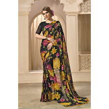 Black Georgette Printed Saree With Unstitched Blouse Material