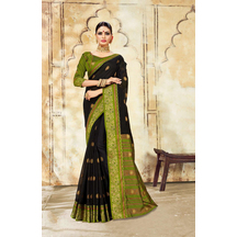 Black Cotton Traditional Jacquard Saree With Unstitched Blouse Material