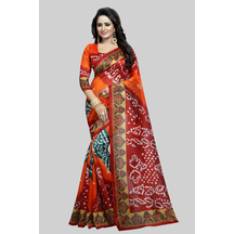 Orange Bhagalpuri Silk Printed Saree With Unstitched Blouse Material