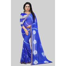 Blue Chiffon Solid Saree With Unstitched Blouse Material