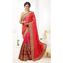 Pink Georgette Resham Embroidered Saree With Unstitched Blouse Material