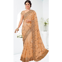 Beige Net Resham Embroidered Saree With Unstitched Blouse Material